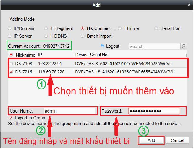 Gắn tên miền Hik-connect vào phần mềm IVMS4200 trên máy tính