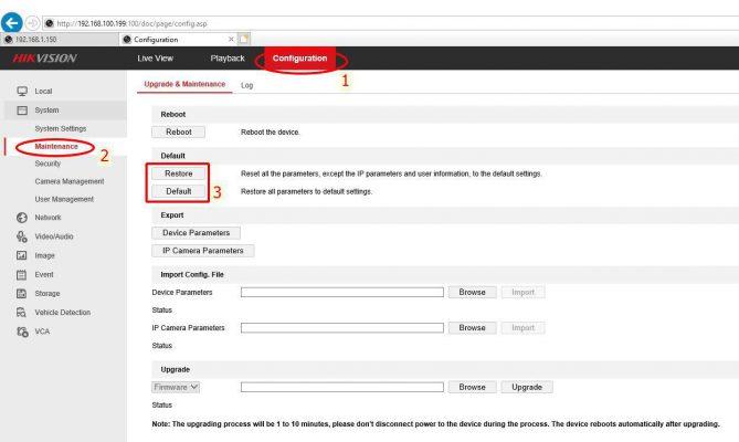 Reset đầu ghi HIKVISION bằng trình duyệt web